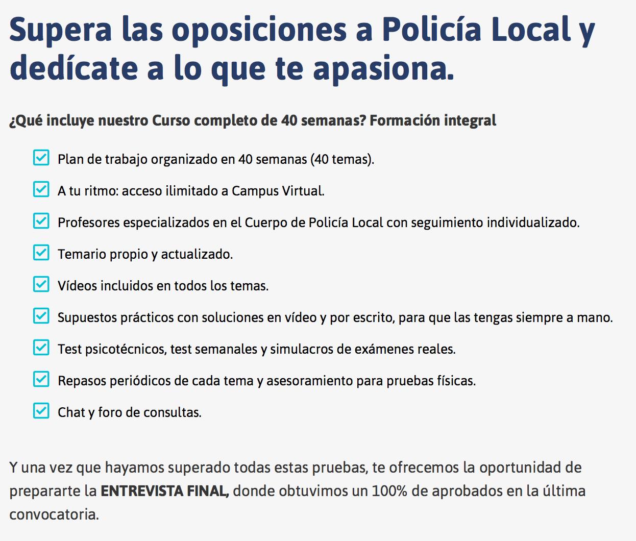 oposiciones policia local